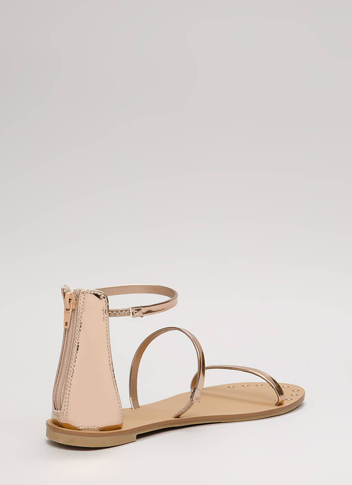 3 Straps You're Out Metallic Sandals ROSEGOLD