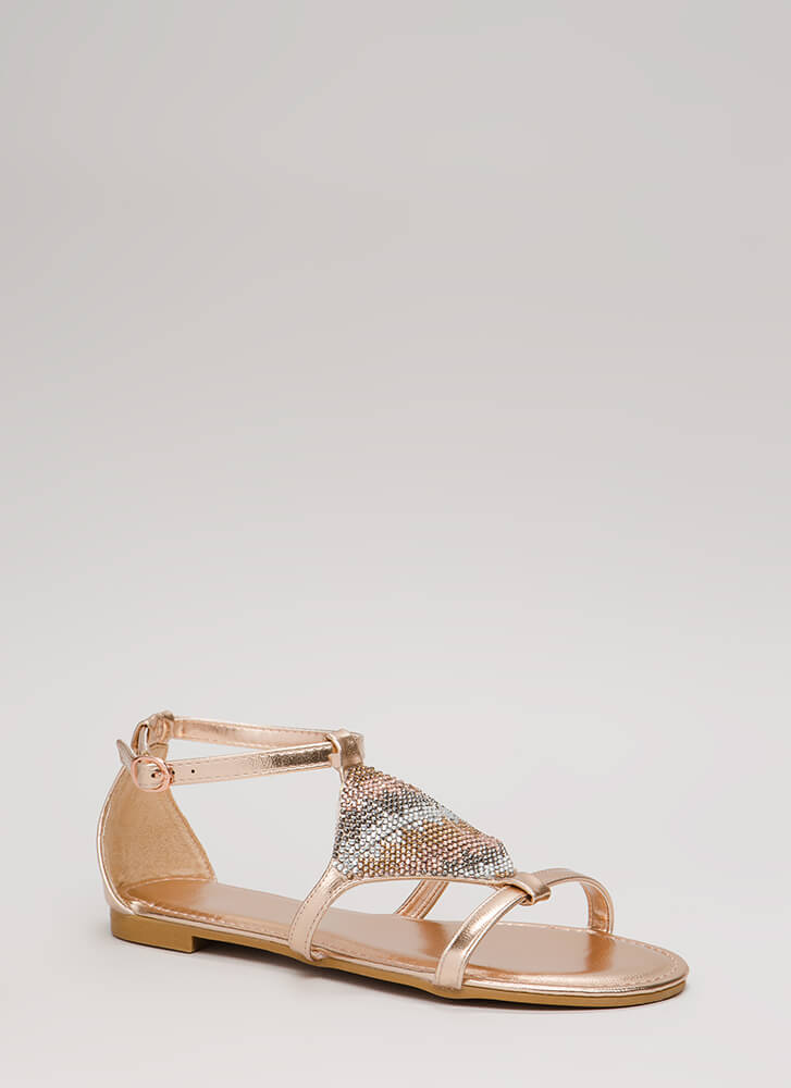 Big Diamond Jeweled Metallic Sandals ROSEGOLD