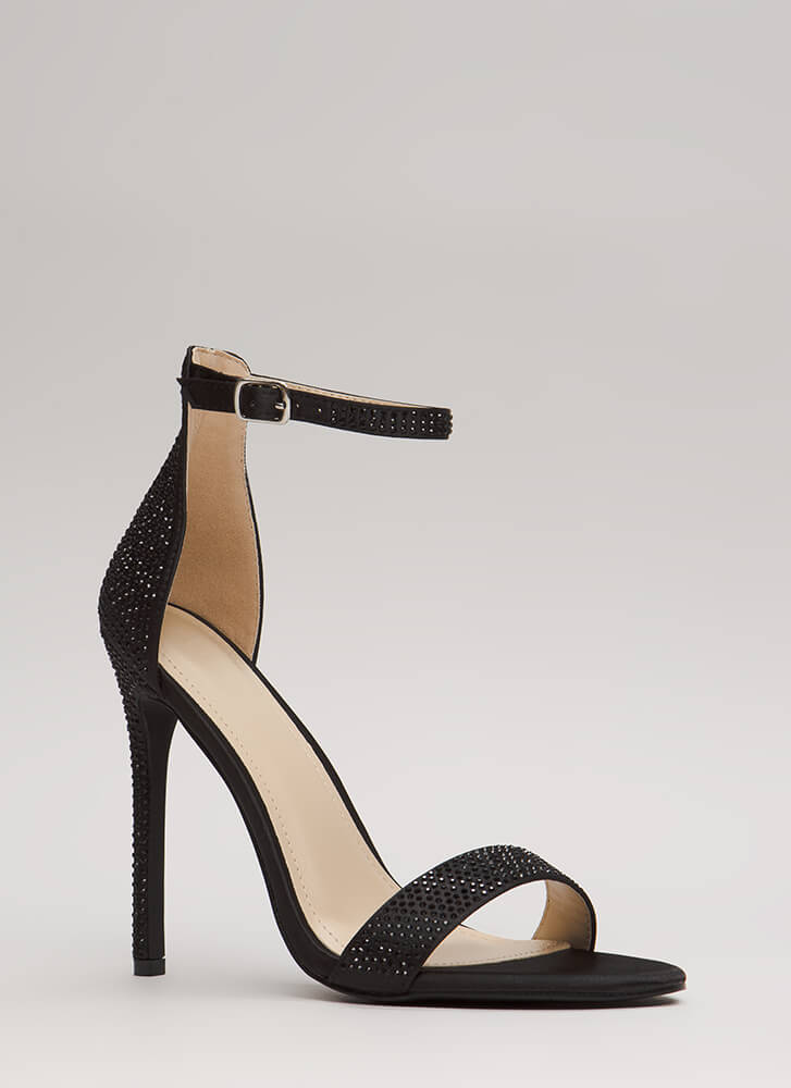 Just Jeweled Satin Ankle Strap Heels BLACK