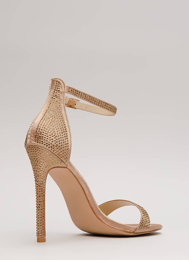 Just Jeweled Satin Ankle Strap Heels CHAMPAGNE