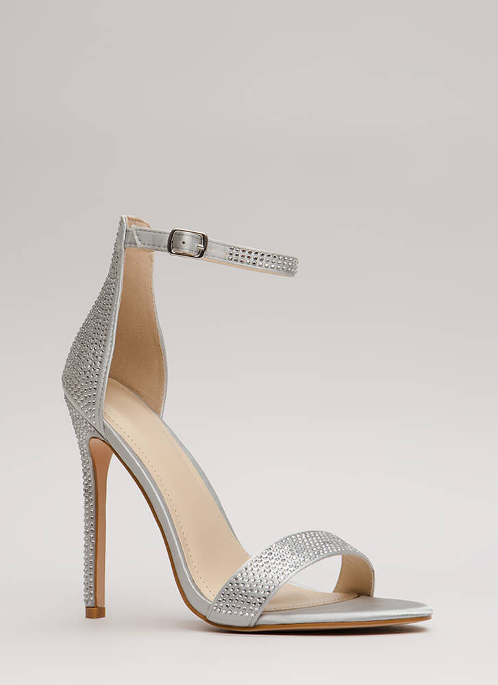 Just Jeweled Satin Ankle Strap Heels SILVER