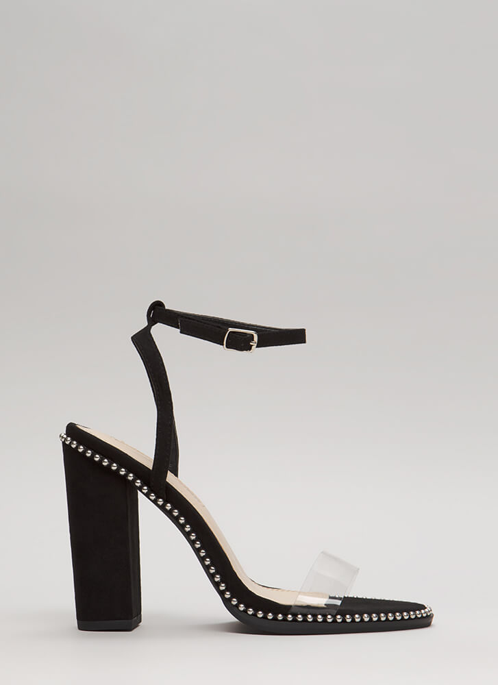 Clearly A Stud Chunky Ankle Strap Heels BLACK