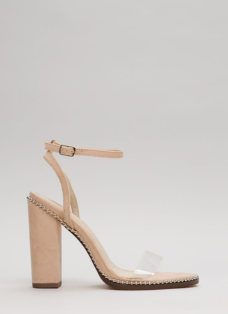 Clearly A Stud Chunky Ankle Strap Heels NUDE (You Saved $22)