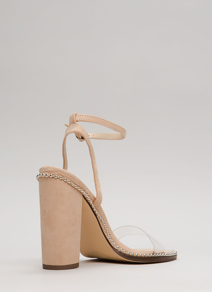 Clearly A Stud Chunky Ankle Strap Heels NUDE