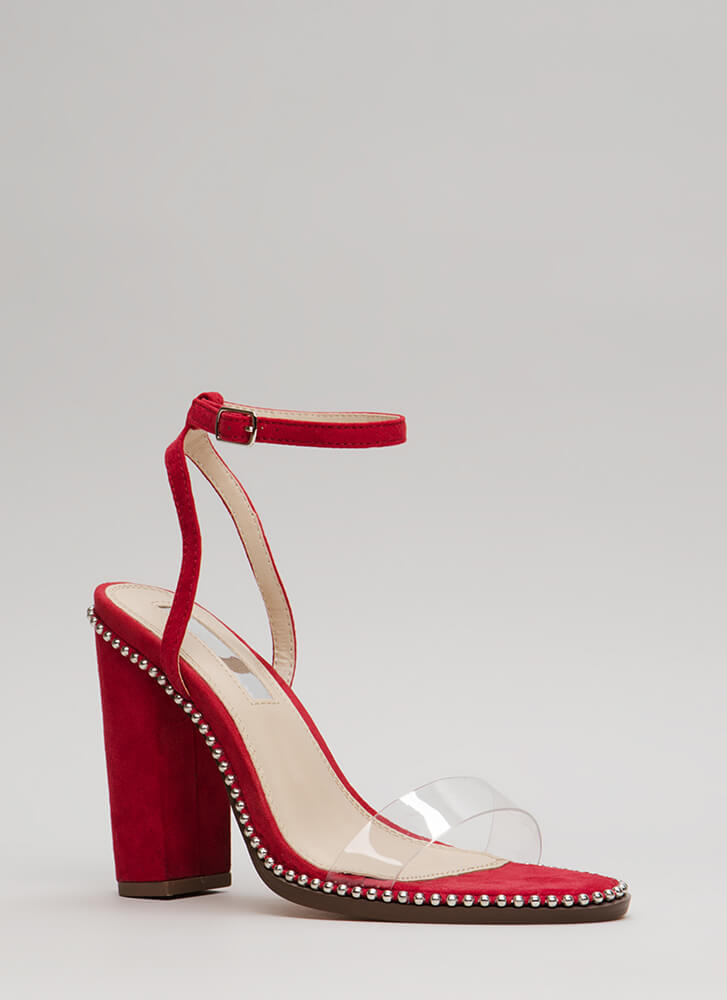 Clearly A Stud Chunky Ankle Strap Heels RED
