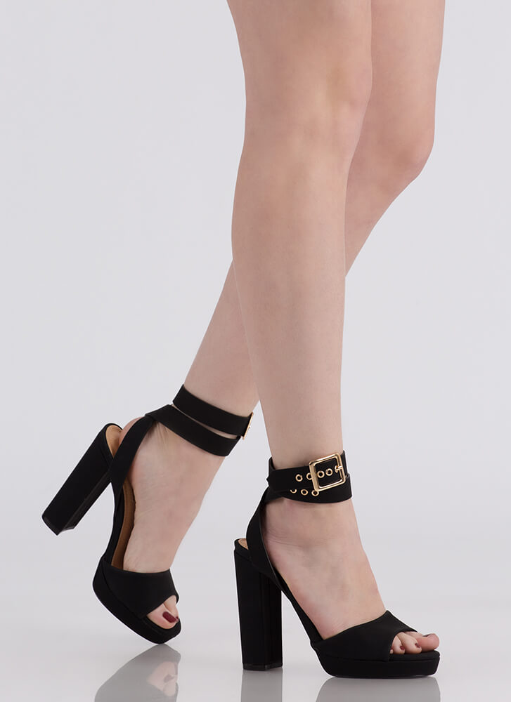 Wrap It Up Chunky Peep-Toe Heels BLACK