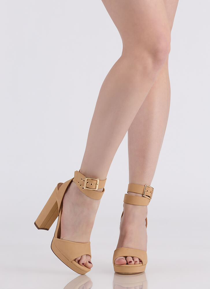 Wrap It Up Chunky Peep-Toe Heels NUDE