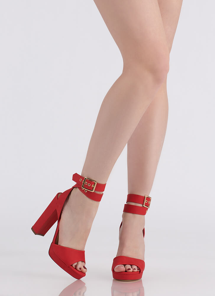 Wrap It Up Chunky Peep-Toe Heels RED