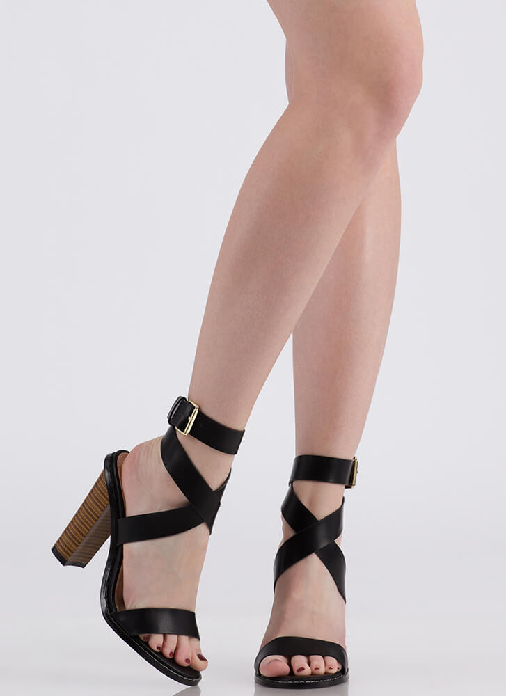 Wrapped In Love Chunky Strappy Heels BLACK