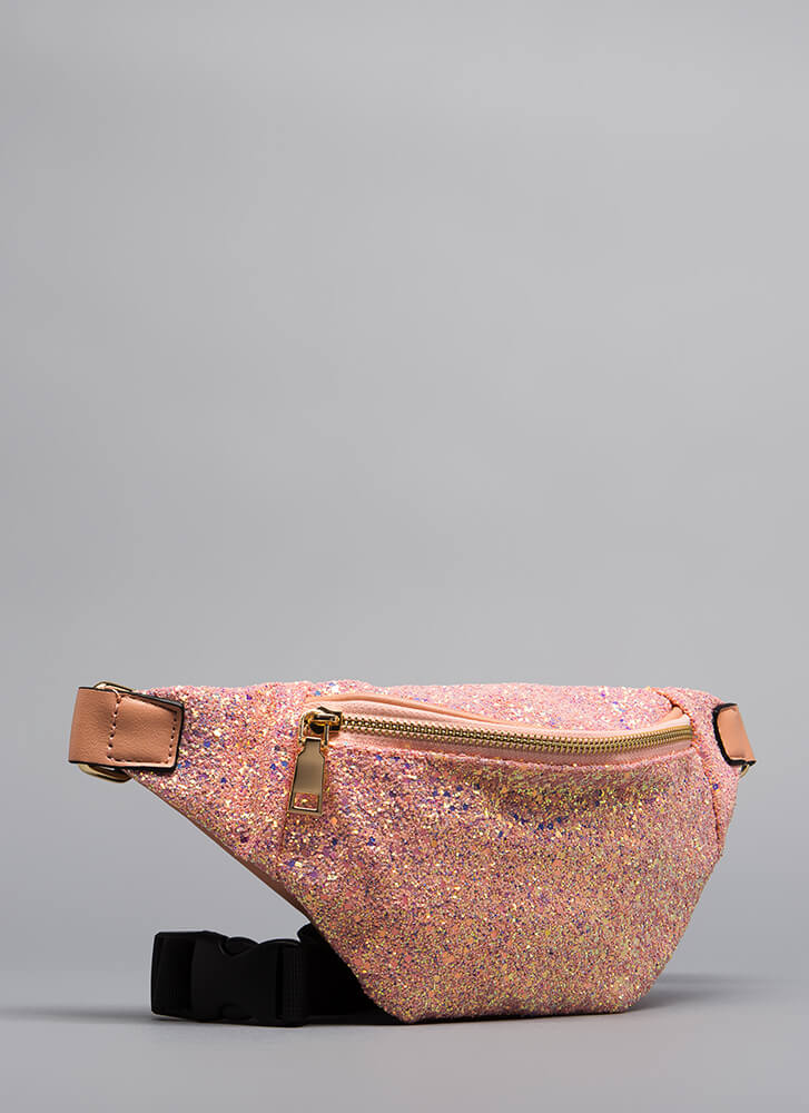 All Eyes On My Glittery Fanny Pack PINK
