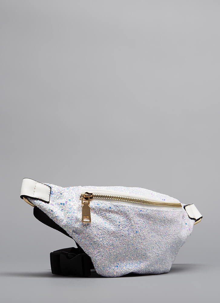 All Eyes On My Glittery Fanny Pack WHITE