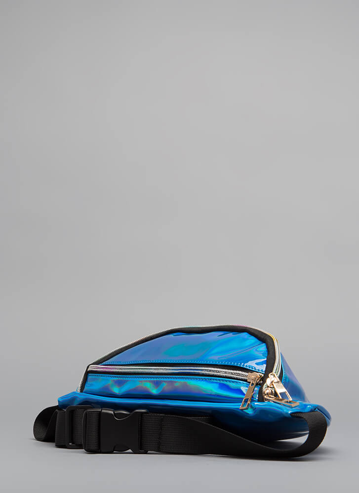 Rave Reviews Holographic Fanny Pack BLUE