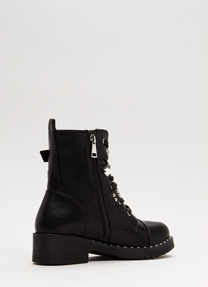 Lady In Studs Moto Combat Boots BLACK