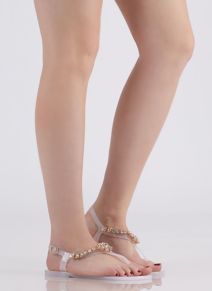 9c7042fe3 Gleam Team Jeweled Jelly Thong Sandals BLACK CLEAR NUDE - GoJane.com