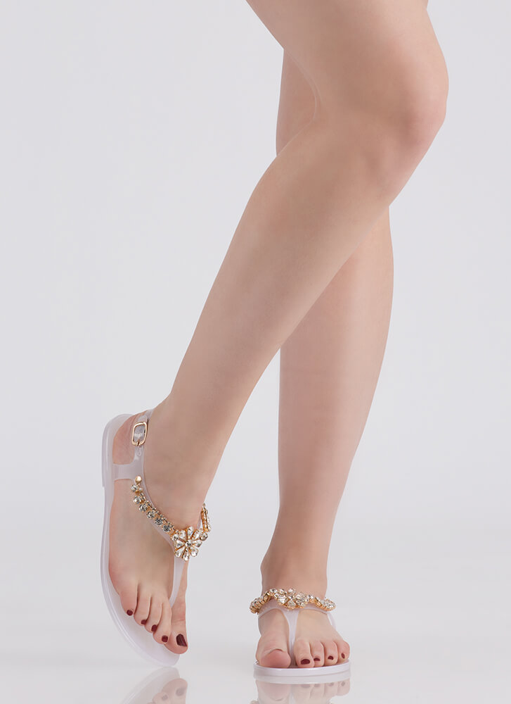Gleam Team Jeweled Jelly Thong Sandals CLEAR