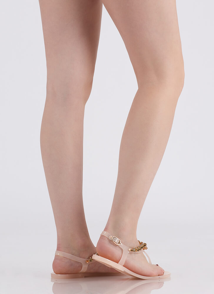 Gleam Team Jeweled Jelly Thong Sandals NUDE