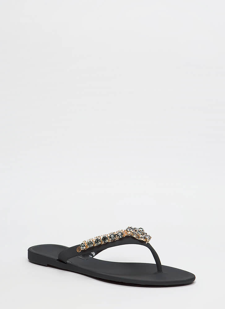 Blossoming Jeweled Matte Jelly Sandals BLACK (You Saved $10)