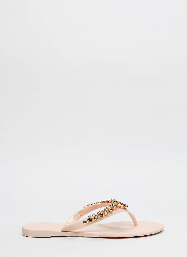 Blossoming Jeweled Matte Jelly Sandals NUDE (You Saved $10)