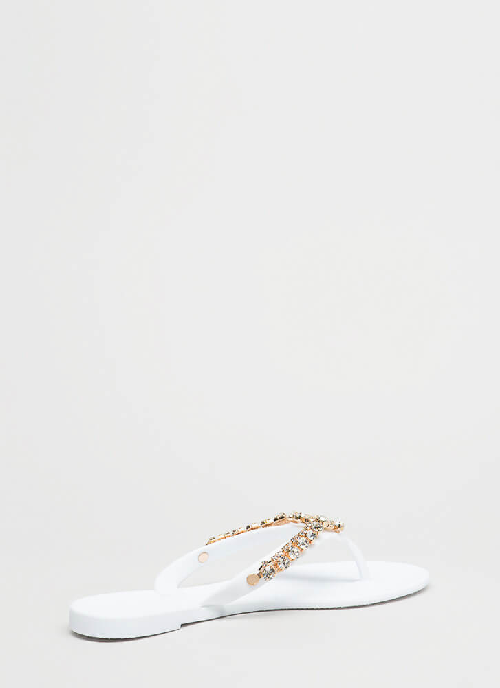 Blossoming Jeweled Matte Jelly Sandals WHITE (You Saved $10)