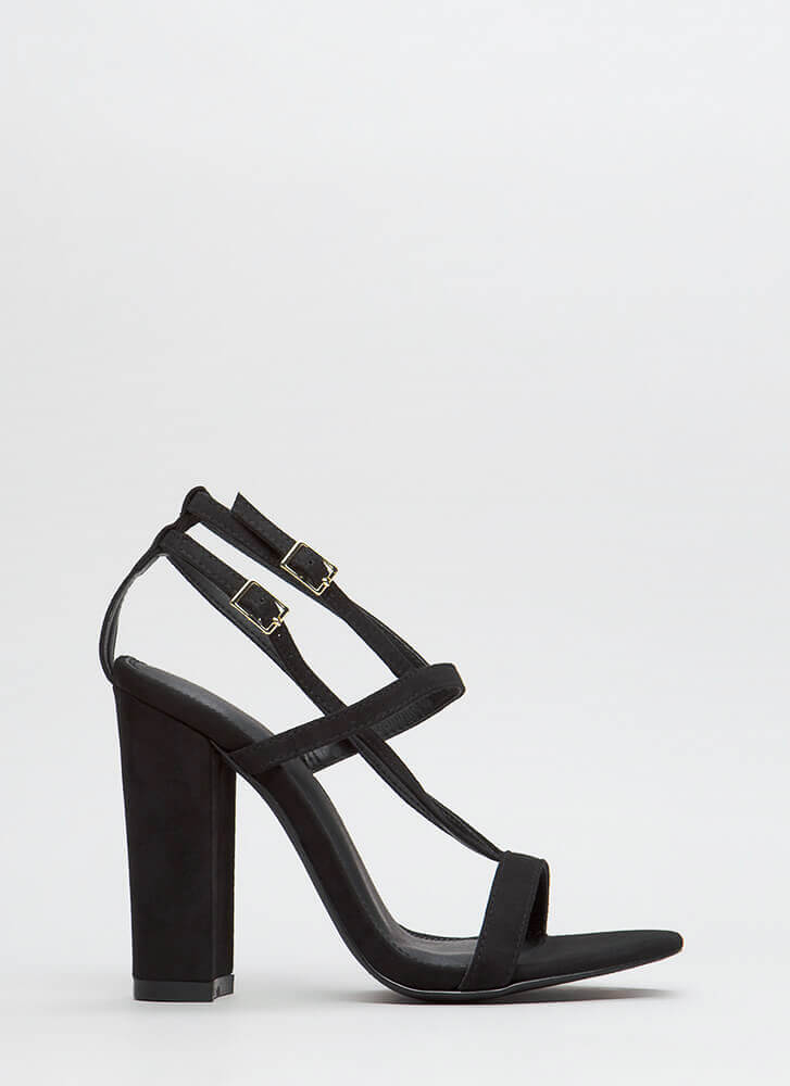 Intersection Strappy Caged Chunky Heels BLACK
