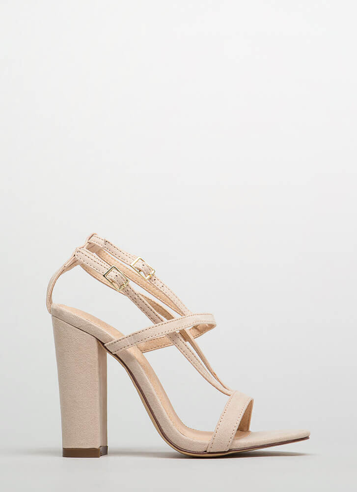 Intersection Strappy Caged Chunky Heels NUDE
