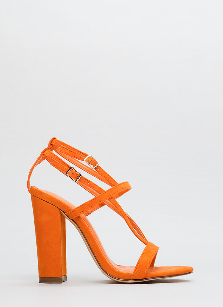Intersection Strappy Caged Chunky Heels ORANGE