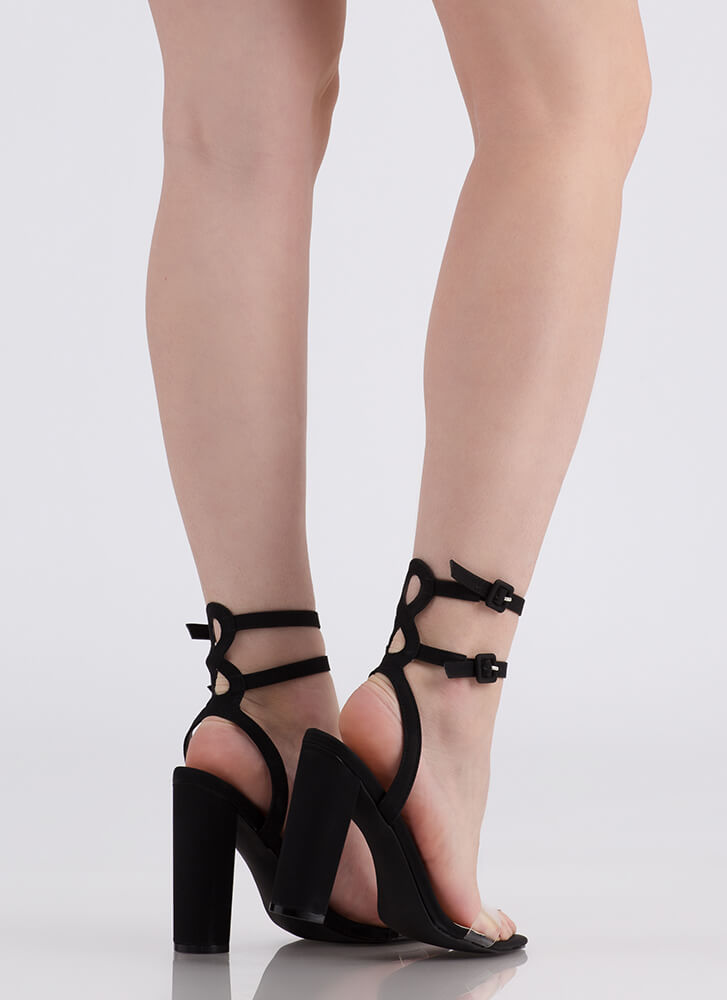 Double Or Nothing Strappy Chunky Heels BLACK
