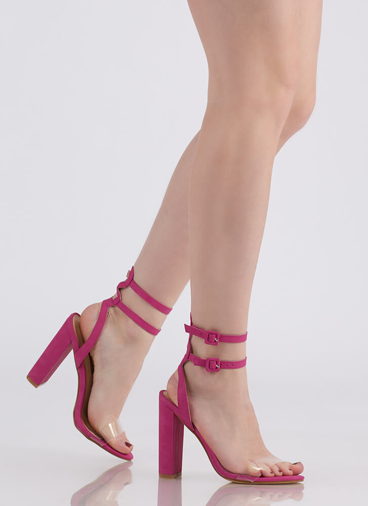 Double Or Nothing Strappy Chunky Heels FUCHSIA