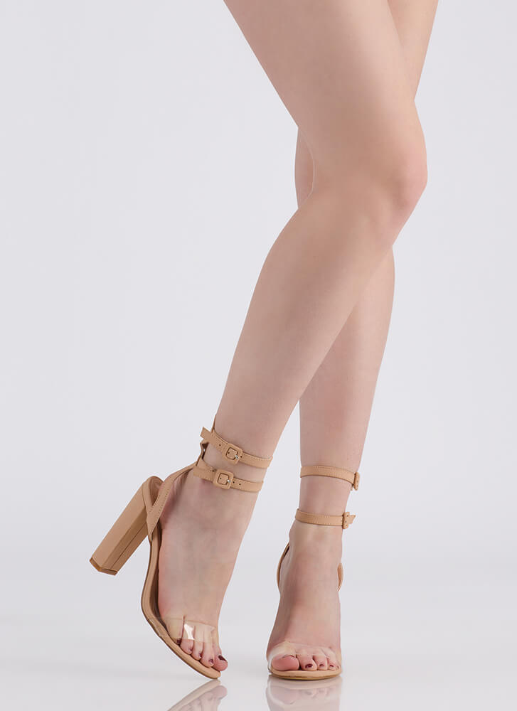 Double Or Nothing Strappy Chunky Heels NUDE
