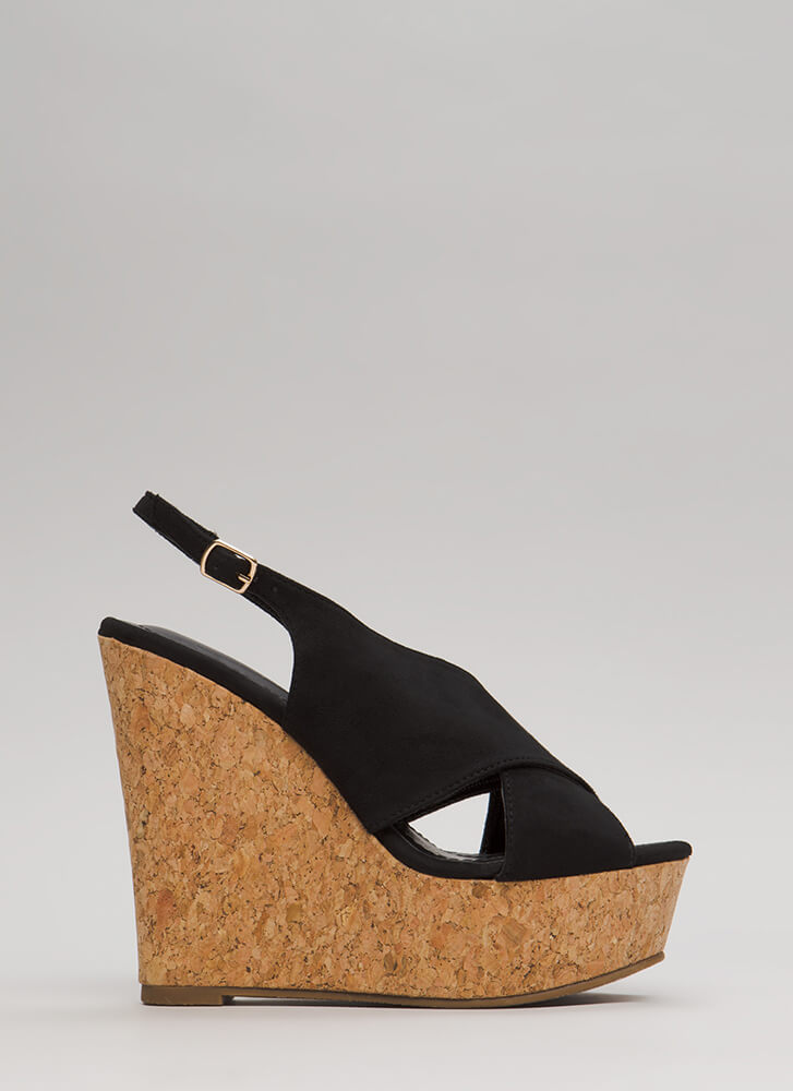 Cork Strength Slingback Platform Wedges BLACK