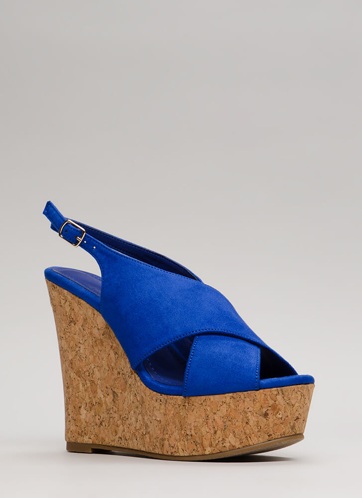 Cork Strength Slingback Platform Wedges BLUE