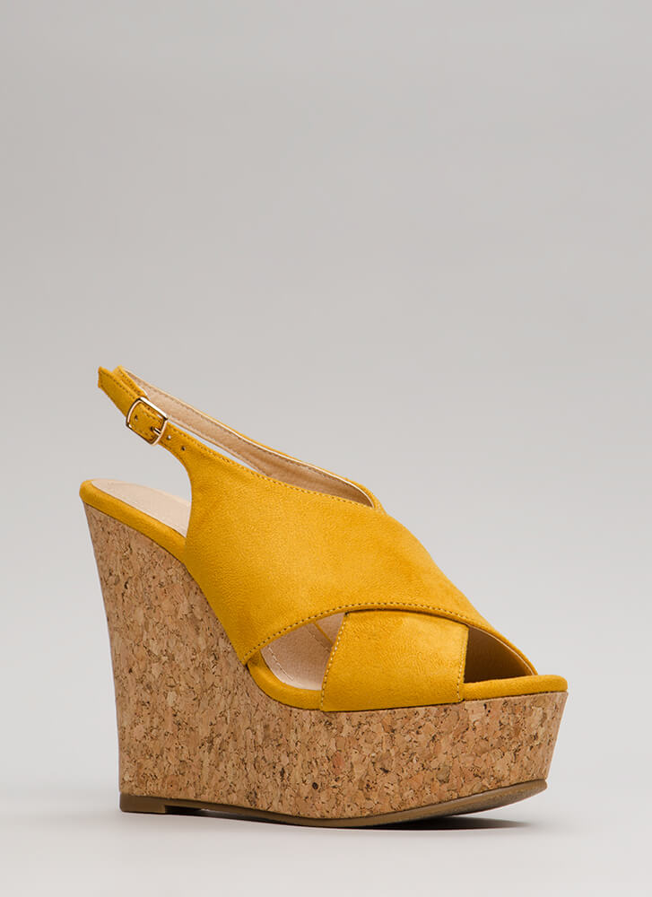 Cork Strength Slingback Platform Wedges MUSTARD