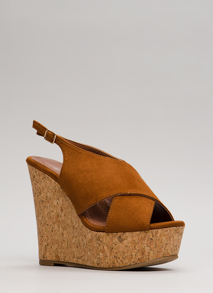 Cork Strength Slingback Platform Wedges TAN