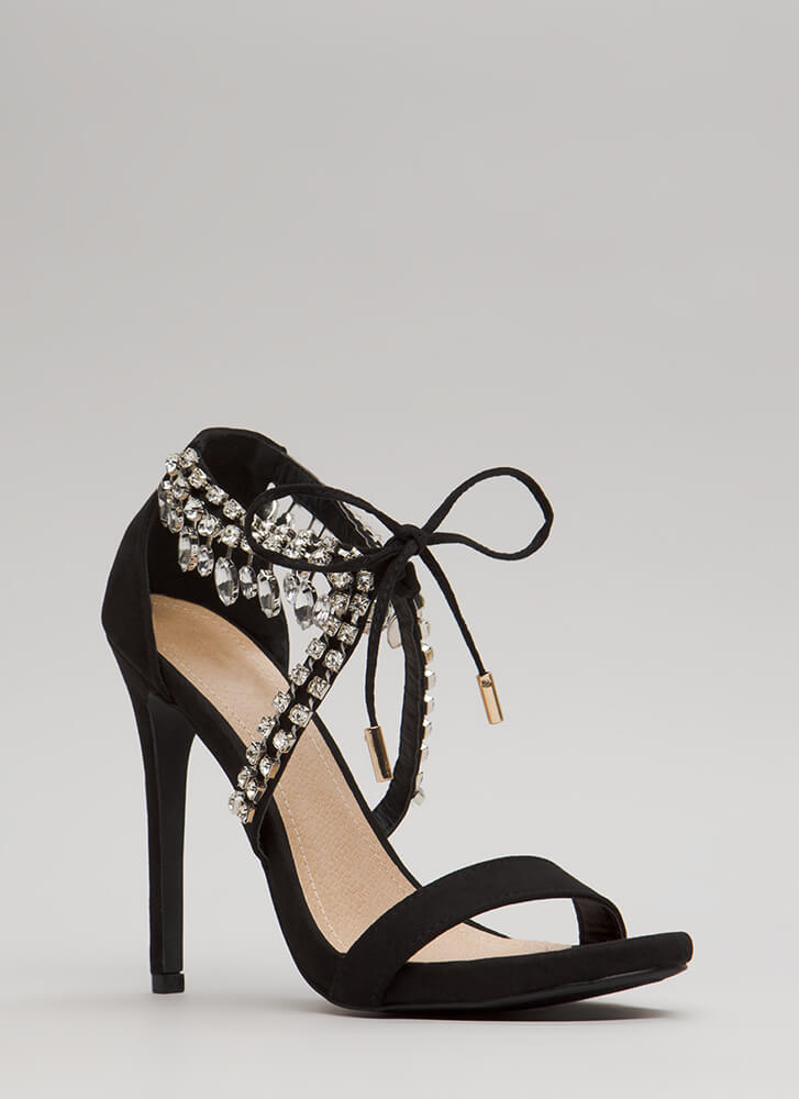 Chandelier Tied Faux Crystal Heels BLACK (Final Sale)