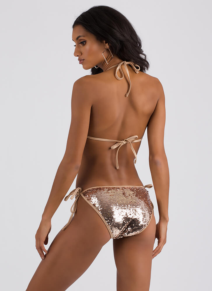 Shining Armor Sequined Monokini ROSEGOLD (Final Sale)