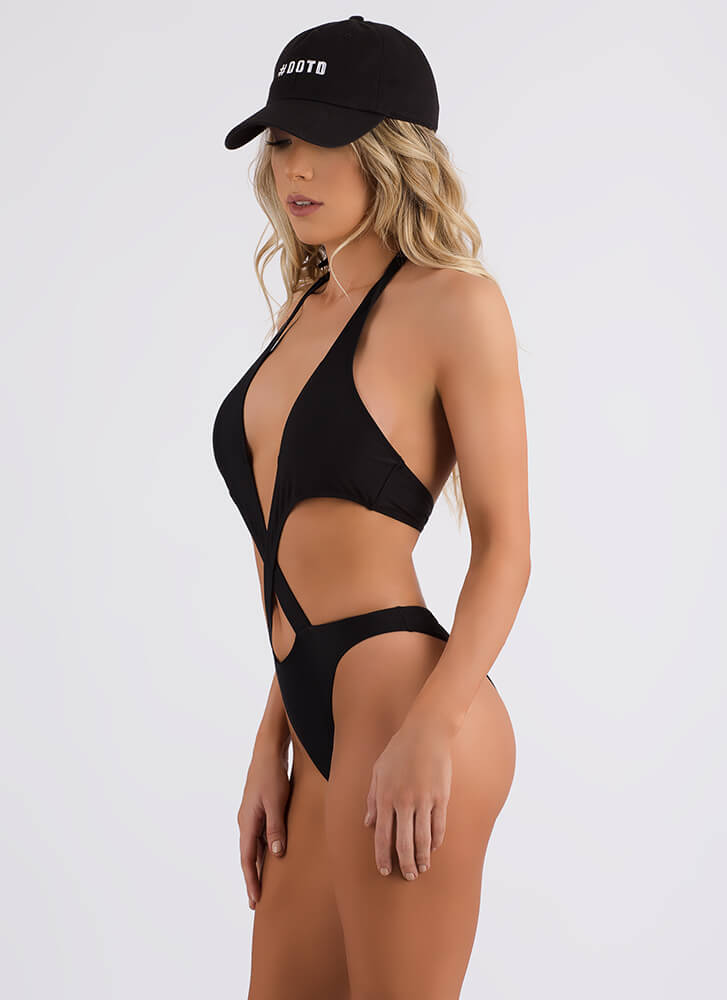 Shoutout To My X Cut-Out Monokini BLACK