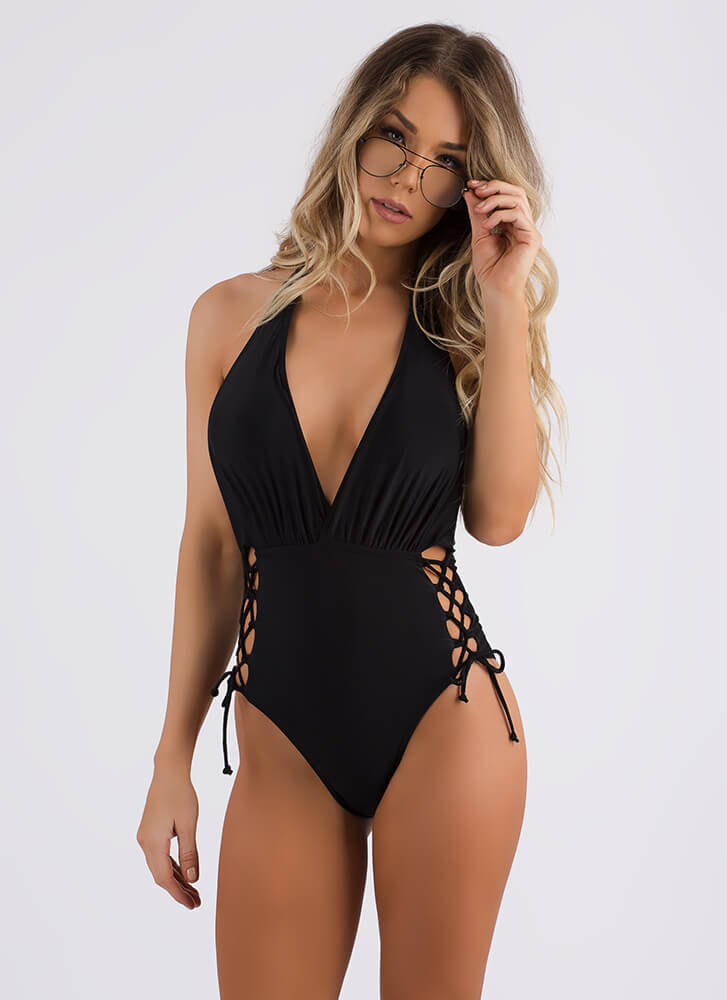 Side Dish Lace-Up Halter Swimsuit BLACK