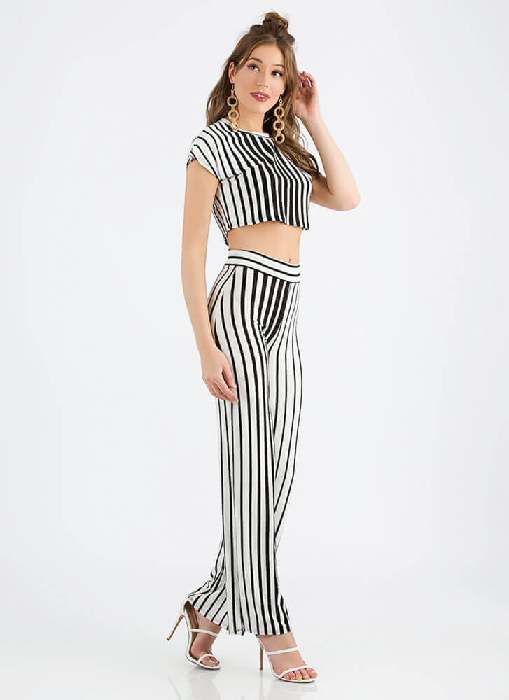 Line Of Vision Striped Top And Pant Set BLACKWHITE