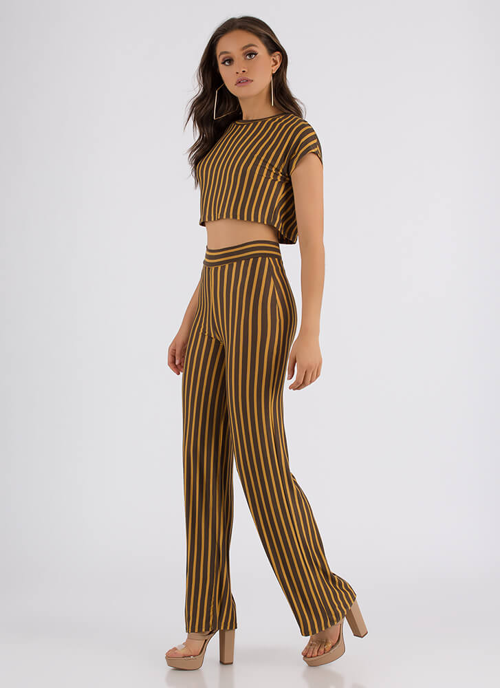 Line Of Vision Striped Top And Pant Set MUSTARD