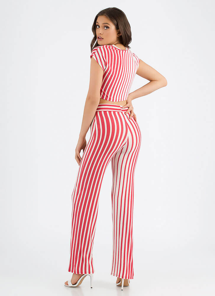 Line Of Vision Striped Top And Pant Set RED
