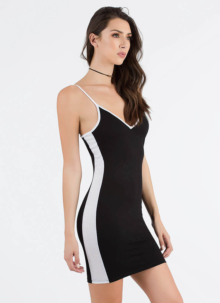 The New Class Sporty Striped Dress BLACK