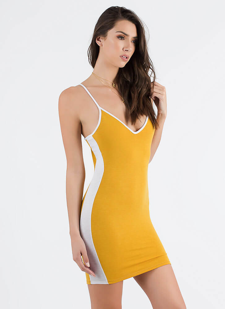 The New Class Sporty Striped Dress MUSTARD