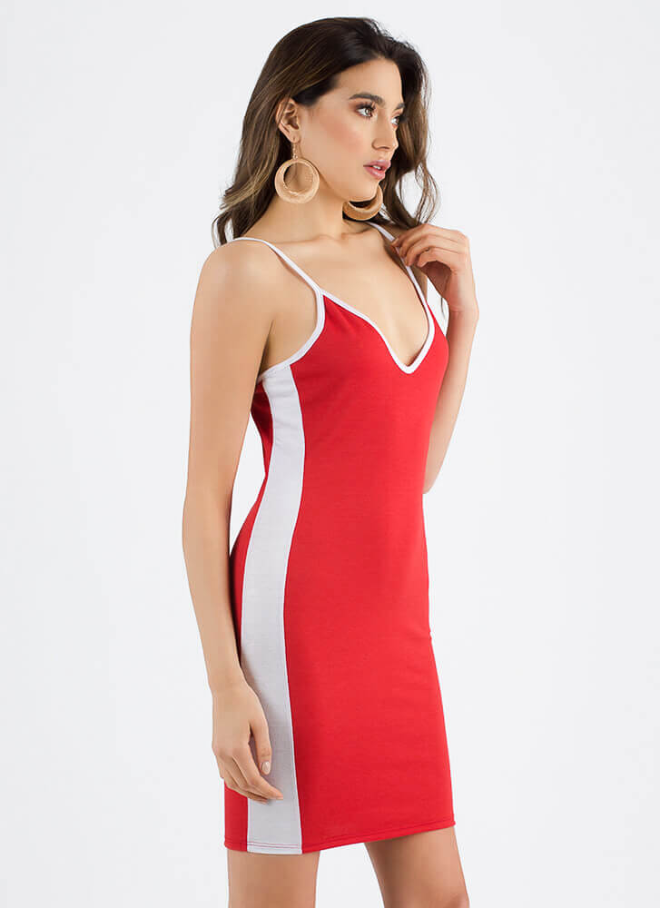 The New Class Sporty Striped Dress RED