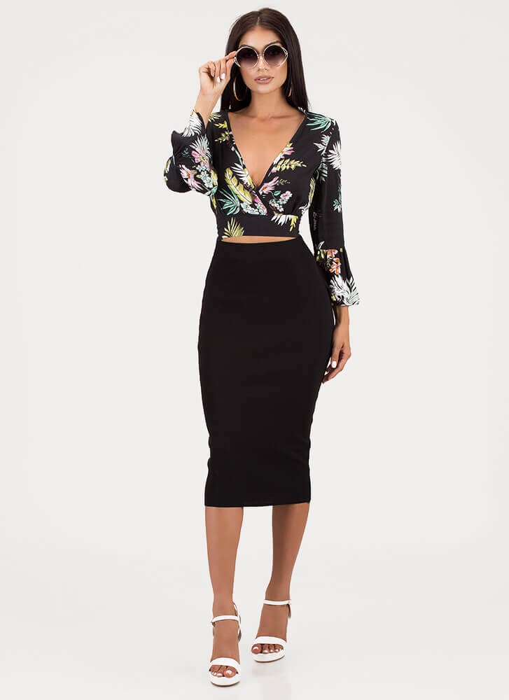 Tropical Foliage Floral Tie-Back Top BLACK