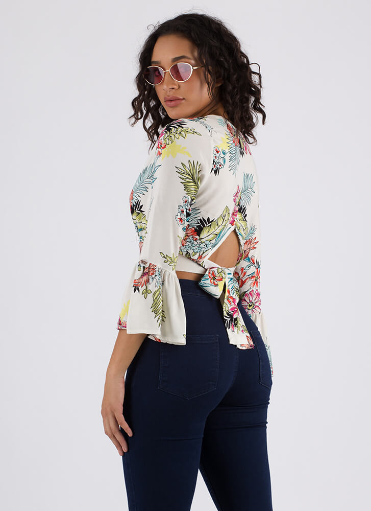 Tropical Foliage Floral Tie-Back Top IVORY