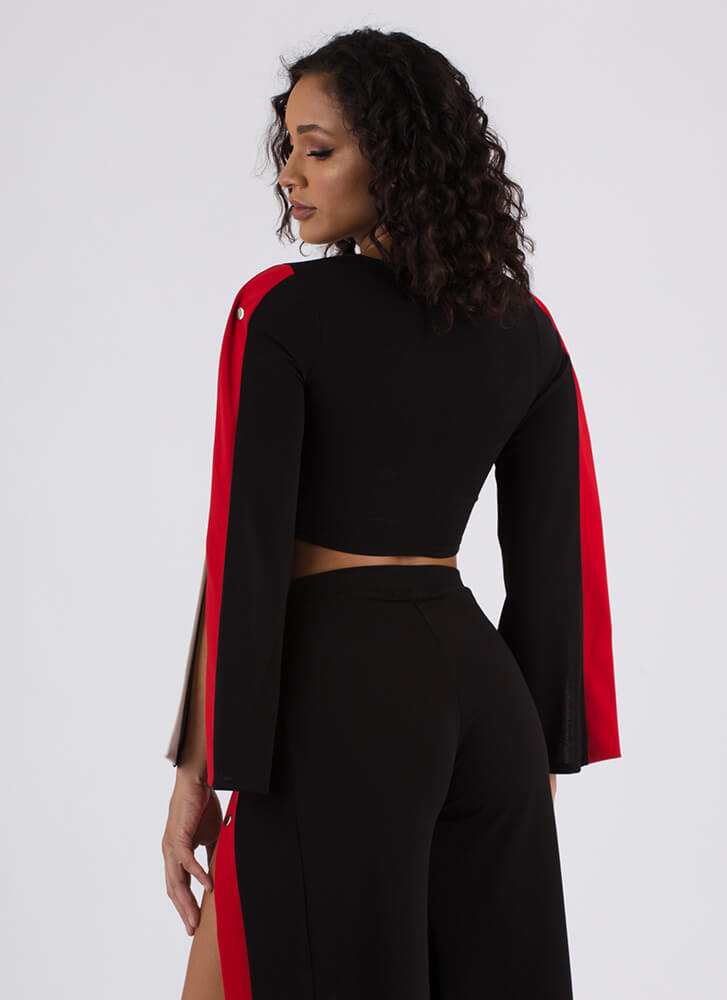 Bright Future Slit Sleeve Crop Top BLACK