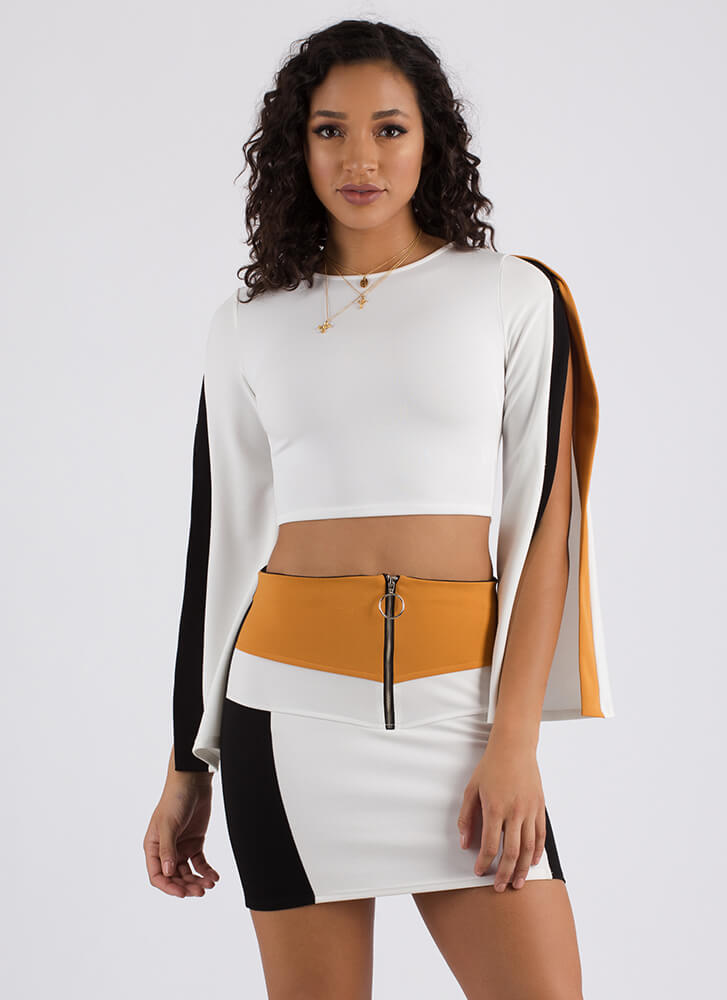 Bright Future Slit Sleeve Crop Top WHITE