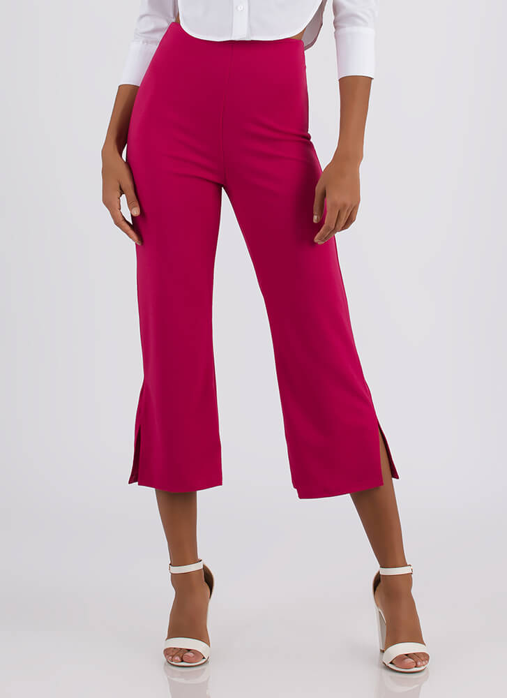 In Short Order Cropped Flared Pants FUCHSIA