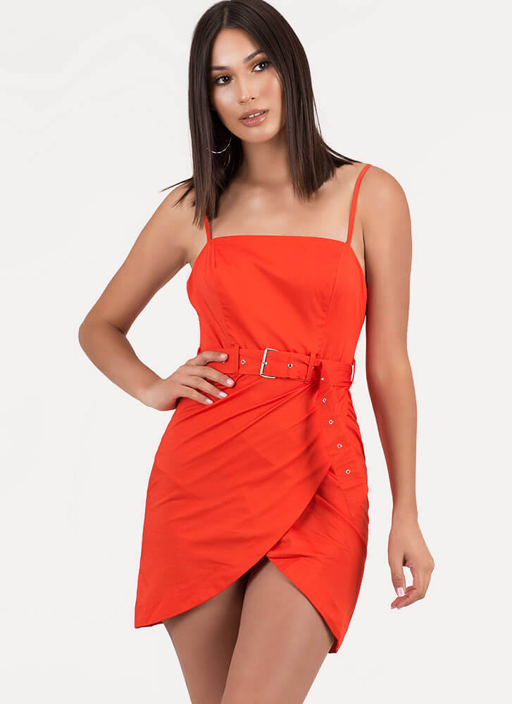 You Never Brought Me Tulips Belted Dress ORANGE