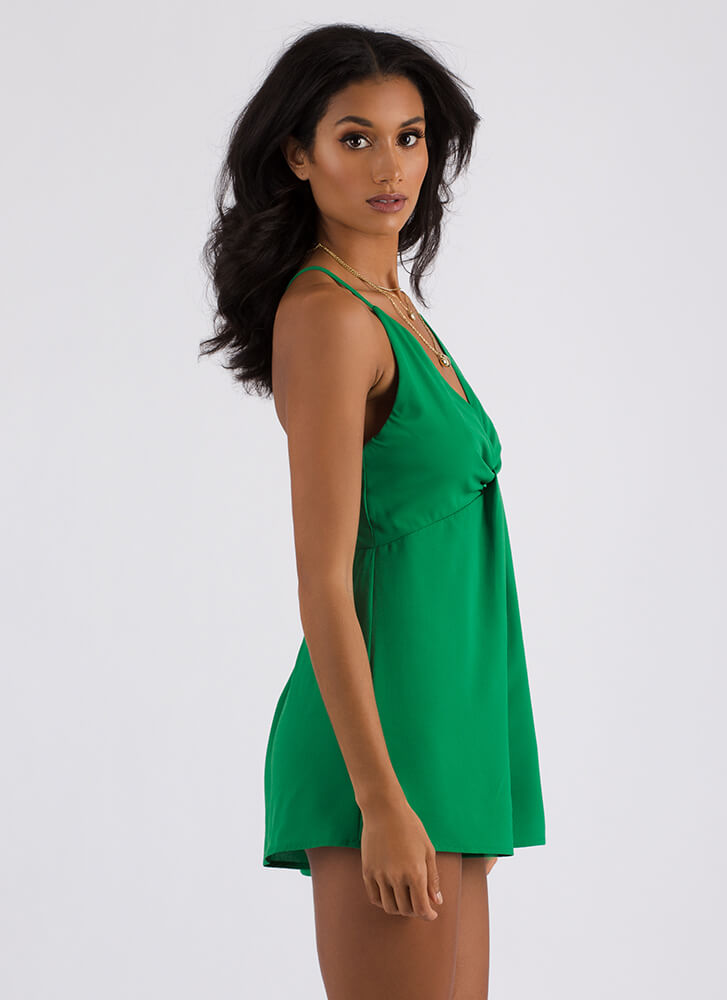 Show Off Plunging Draped Romper KELLYGREEN